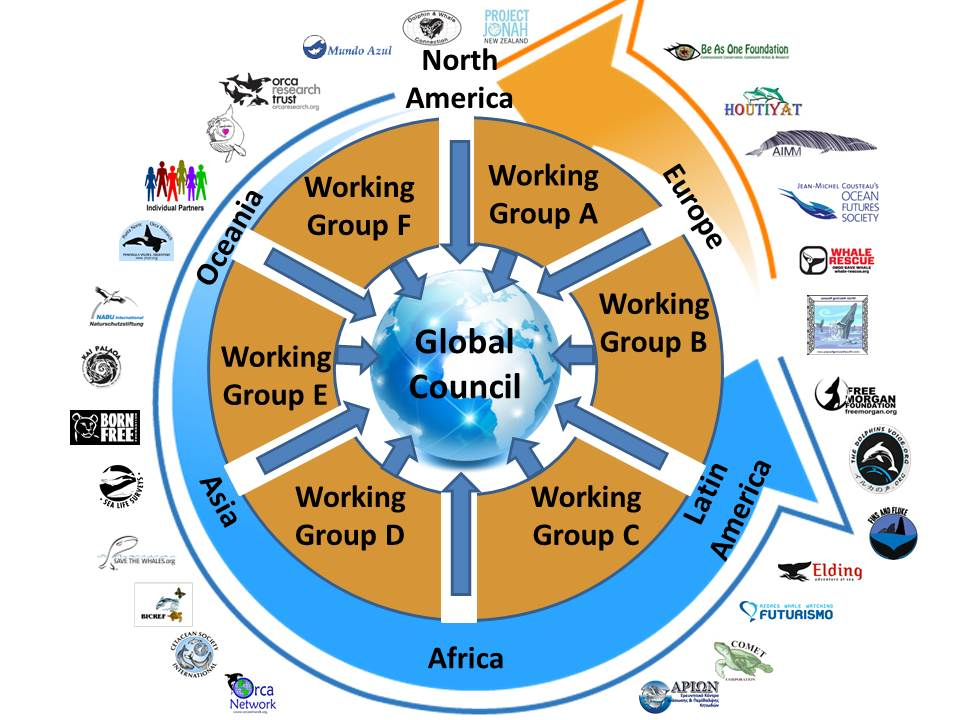 WCA 'circular governance structure' showing how Partners from all regions and stakeholder groups form Working Groups. Each Working Group Chair sits on the Global Council alongside at least one representative from each region and stakeholder group